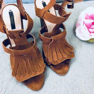 Zara Moccasin Style Fringed Open Toe Wedges